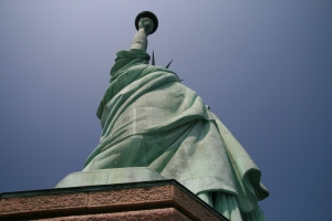Liberty torch glows