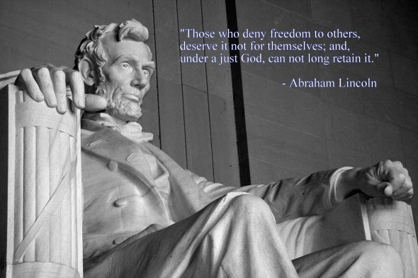 Abraham Lincoln; into frame from Lincoln memorial, Washington DC, USA