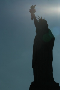 Statue of Liberty on sun shadows