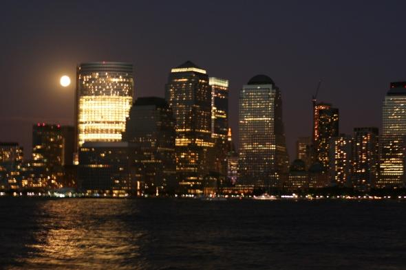 New York City on a full moon light